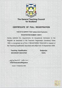 Certificate GTC Scotland